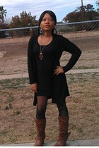 brown Taupe Slouchy buckle strap boots - black Sheer pantyhose intimate