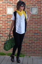 Hanes t-shirt - no name vest - Forever21 scarf - Alice  Olivia shoes - Liz Claib