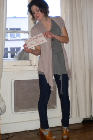 brown Forever 21 cardigan - gray Forever 21 shirt - blue Forever 21 jeans - brow