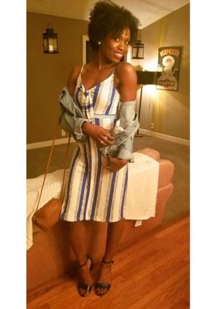 blue Marshalls dress - blue Forever 21 jacket - brown leather satchel H&M purse