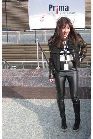 vintage jacket - leather Topshop leggings - vintage top