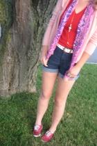 aa shirt - Dickies shorts - Keds shoes - hand-me-down scarf