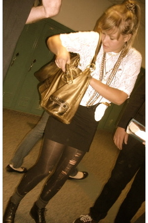 fake dolce purse - lux uo skirt - target mutilated by me tights - thrift top