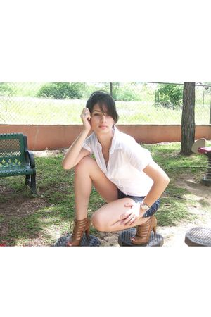 white t-shirt - blue Arizona shorts - brown Valija shoes - silver Fossil accesso