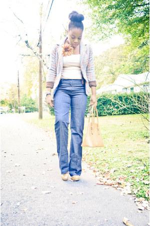 thrifted vintage blazer - Steve Madden heels - new york & co pants