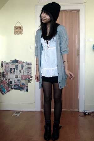 H&M hat - American Eagle - American Eagle blouse - American Apparel dress - Aldo