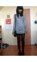 American Eagle sweater - American Apparel dress - Duane Reade tights - coach pur