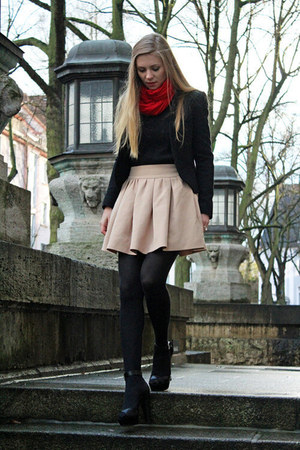 black jacket - black shirt - ruby red scarf - beige skirt - black heels