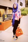 Bubble-gum-supre-shirt-blue-scarf-burnt-orange-bag-violet-flats-black-su