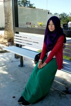 green dress - purple scarf - ruby red cardigan - white top - black sneakers