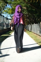 black supre skirt - purple scarf - dark brown supre top - bubble gum supre top