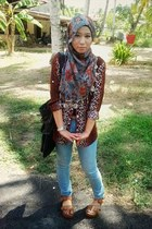 turquoise blue jeans - olive green scarf - tawny wedges - dark brown bodysuit