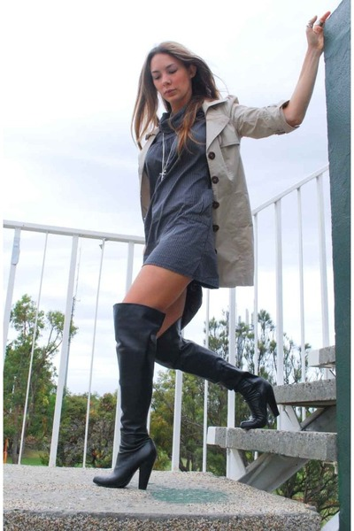 boots - coat - dress