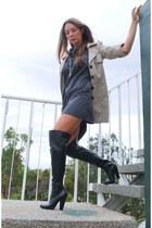 boots - coat - dress