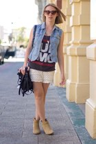 black bag - tan boots - neutral shorts - blue vest
