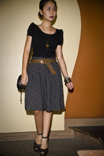 black random brand blouse - blue thrifted skirt - brown belt - black Parisian sh
