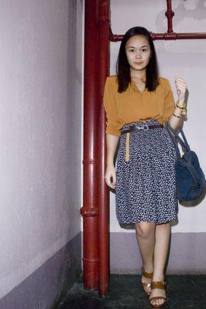 orange Thrift Store blouse - blue Thrift Store skirt - brown random brand belt -