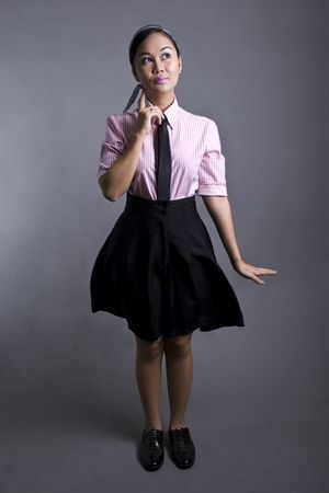 pink blouse - black tie - black shorts - black shoes