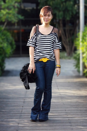 navy wideleg Primark jeans - black random brand jacket - black Rampage bag - bla