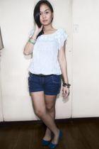blue Zara cardigan - white thrifted top - blue random brand shorts - green Acces