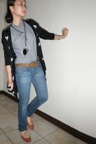black Forever 21 cardigan - gray Bayo blouse - blue People are People jeans - br