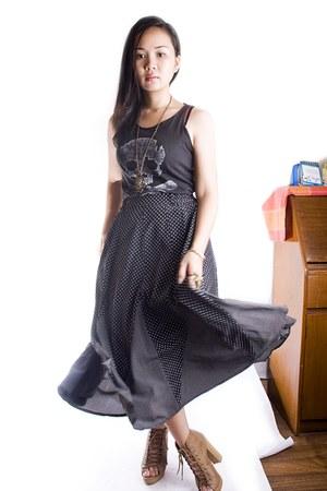 dark gray Primark top - black thrifted skirt - camel Parisian boots