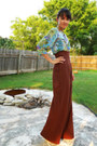 Turquoise-blue-silk-anthropologie-blouse-dark-brown-high-waisted-diy-pants-g