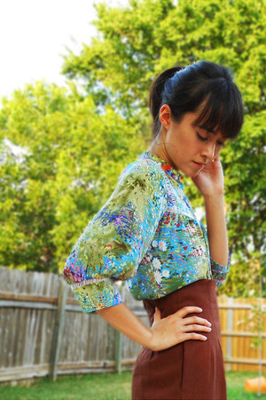 turquoise blue silk Anthropologie blouse - dark brown high-waisted DIY pants - g