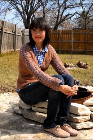 thrifted Michael Kors jeans - bronze vintage wrap Katharine H cardigan - blue Mo