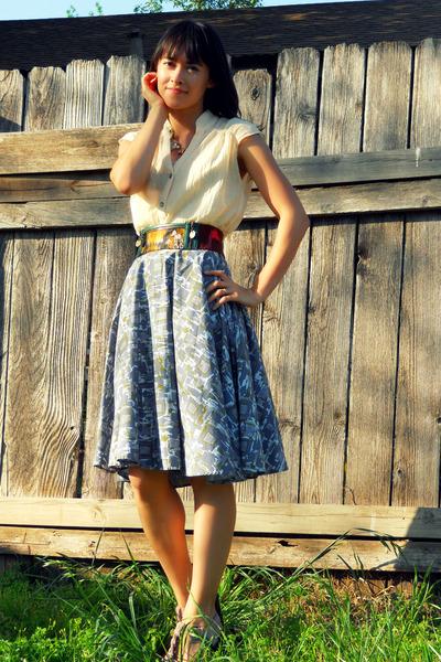 cream Esley blouse - dark brown zip pocket Anthropologie belt - periwinkle circl