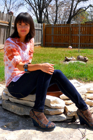skinny James Jeans jeans - brown burnout Anthropologie socks - tawny tie dye Old