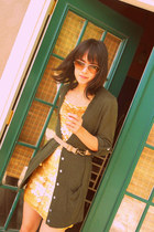 gold paillette thrifted dress - olive green Old Navy cardigan - camel purse-stra