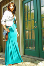 teal maxi dress Lush dress - periwinkle striped H&M jacket - brown vintage bag B