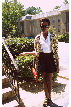 red purse - black Macys skirt - beige blazer - black Max Cole sunglasses