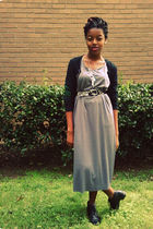 gray dress - black JCpenney shoes - black Target cardigan - black liz claiborne