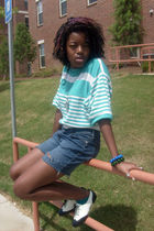 blue liz claiborne sweater - blue Guess shorts - white Candies shoes - blue Fore