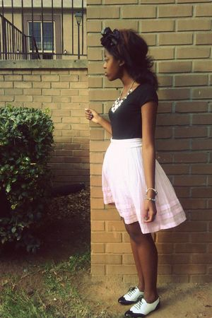 pink diy dye Old Navy skirt - white oxfords Candies shoes
