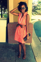 orange dress - brown Louis Vuitton purse - brown Kenneth Cole shoes
