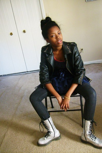 black Delias jacket - blue Charlotte Russe dress - silver doc martens boots