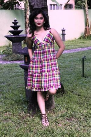 brown from Multiply shoes - pink dress