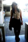 Brown-forever-21-hat-white-random-top-white-random-belt-black-thrifted-pan