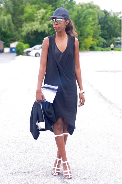 black oversized H&M dress - white Alexander Wang sandals