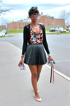 floral print H&M top - TJ Maxx scarf - leather skirt H&M skirt