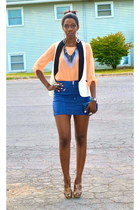blue TJ Maxx bag - navy leather skirts H&M skirt