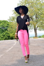 hot pink jeggings H&M jeans - black chiffon cotton GoJane top