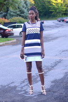 blue shift linen H&M dress - white Alexander Wang sandals