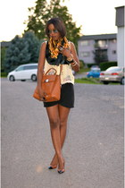 black H&M skirt - bronze Michael Kors bag - brown heels