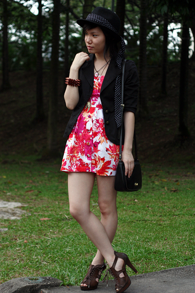 red Forever21 dress - black cotton on blazer - black Forever21 hat - brown mondo