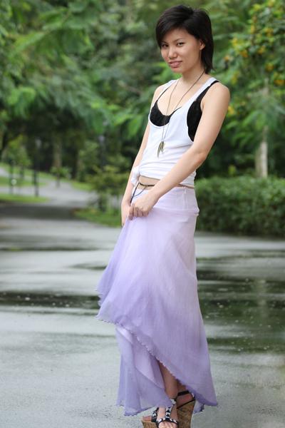 white Forever21 top - black cotton on bra - purple British India skirt - black g