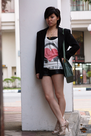 black blazer - white Forever21 top - black Forever21 shorts - beige Charles &amp; Ke